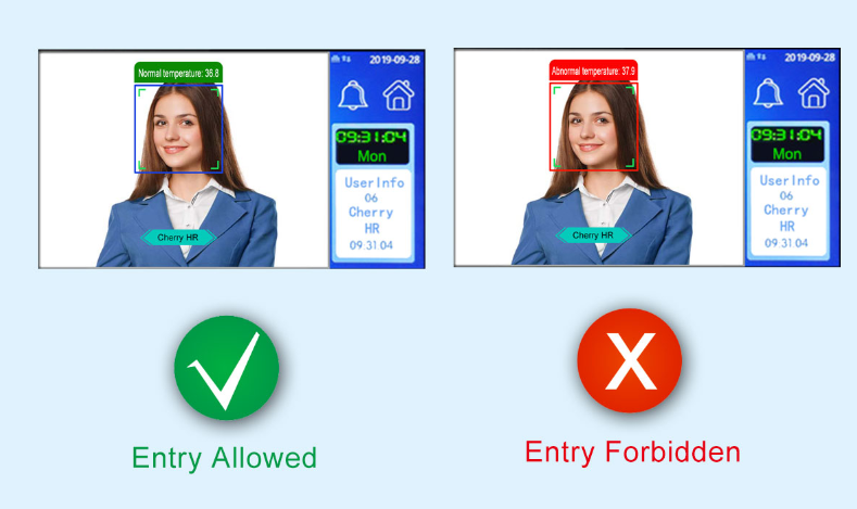 Dynamic Facial Recognition Terminal - Temperature Alert & Prompts